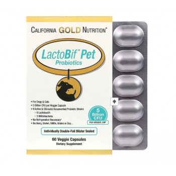 California Gold Nutrition LactoBif 寵物益生菌 60植物膠囊